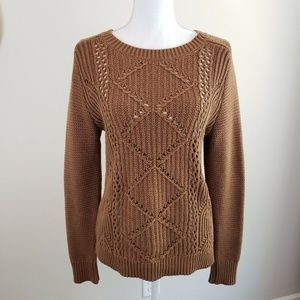 Old Navy Brown Cable Knit Sweater
